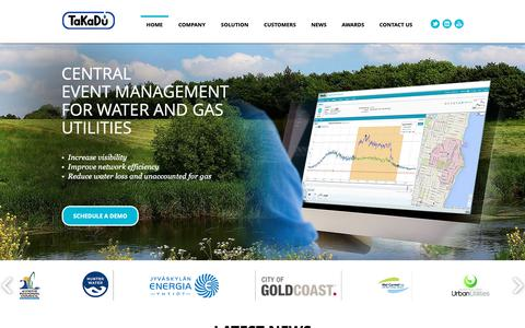 Screenshot of Home Page takadu.com - TaKaDu - Integrated Event Management for the Water Industry - captured Nov. 4, 2018