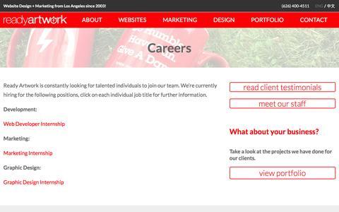 Screenshot of Jobs Page readyartwork.com - Web Design & Social Media Careers Los Angeles - captured Feb. 18, 2016