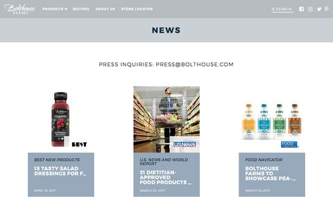 Screenshot of Press Page bolthouse.com - News - Bolthouse Farms - captured July 30, 2017