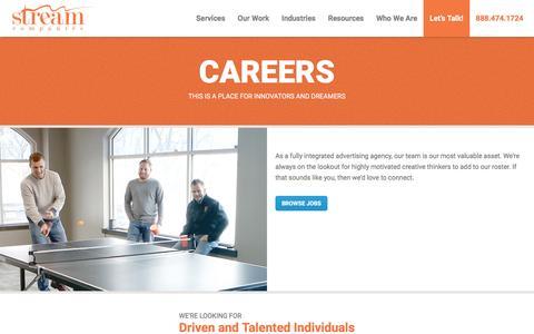 Screenshot of Jobs Page streamcompanies.com - Advertising Careers in Philadelphia | Job Openings at Stream Companies - captured Jan. 27, 2017