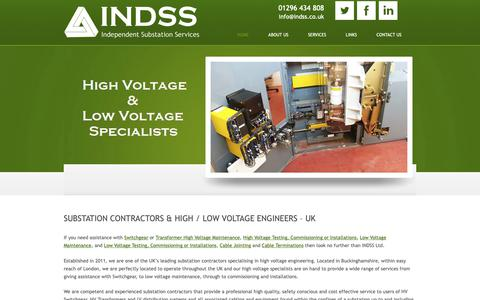 Screenshot of Home Page indss.co.uk - Independent Substation Services Ltd, INDSS. - captured Oct. 11, 2018