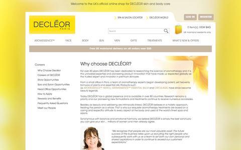 Screenshot of Jobs Page decleor.co.uk - Why choose DECLÉOR? | DECLÉOR UK Online Salon - captured Sept. 24, 2014