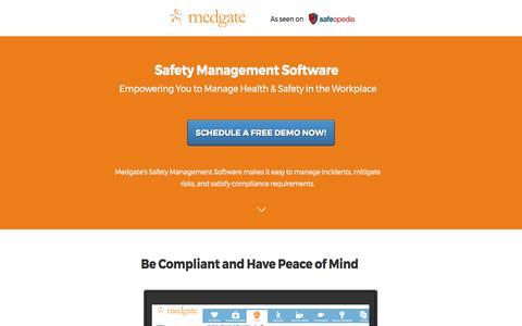 Screenshot of Landing Page medgate.com - Safety Management Software Solution - captured June 8, 2017