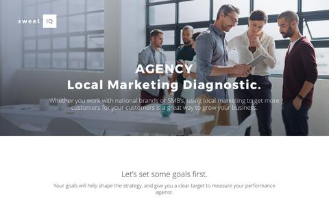 Screenshot of Landing Page sweetiq.com - Local Marketing Diagnostic for Agency | SweetIQ - captured Sept. 13, 2017