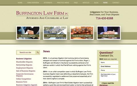 Screenshot of Press Page buffingtonlawfirm.com - News | Buffington Law Firm, PC | Orange County, California - captured Oct. 11, 2017