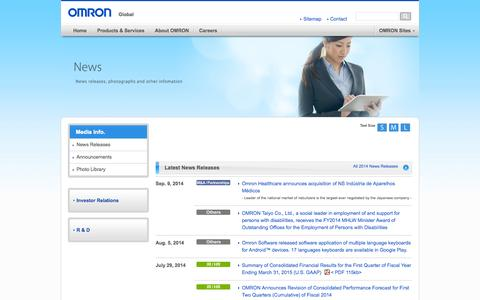 Screenshot of Press Page omron.com - Media Info   OMRON Global - captured Sept. 25, 2014