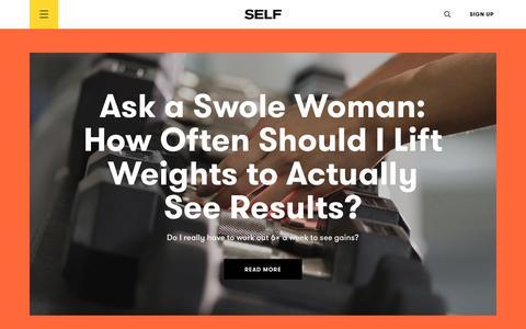 Screenshot of Home Page self.com - SELF Magazine: Women's Workouts, Health Advice & Beauty Tips | SELF - captured April 28, 2018