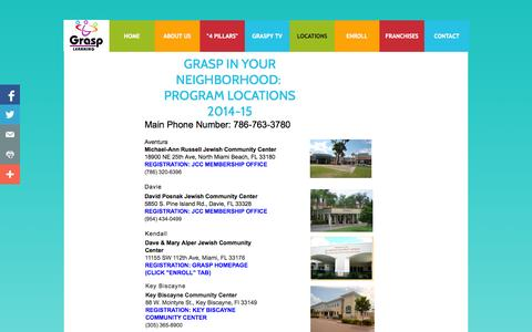 Screenshot of Locations Page grasp-learning.com - LOCATIONS - captured Oct. 28, 2014