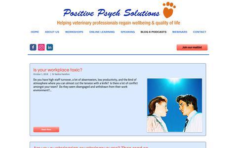 Screenshot of Blog positivepsychsolutions.com.au - Positive Psych Solutions - Blog & Podcasts - captured Nov. 5, 2018