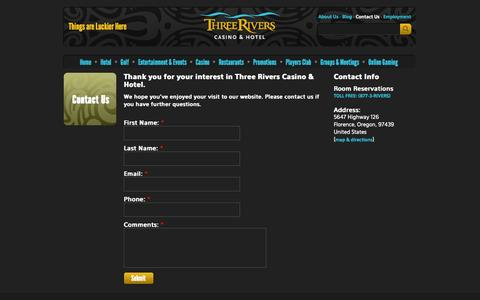Screenshot of Contact Page threeriverscasino.com - Three Rivers Casino and Hotel - Contact Us - captured Oct. 9, 2014