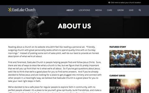 Screenshot of About Page eastlakechurch.com - About Us | EastLake Church - captured July 10, 2016