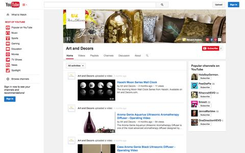 Screenshot of YouTube Page youtube.com - Art and Decors  - YouTube - captured Oct. 23, 2014