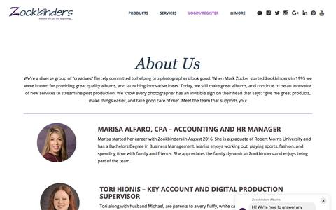Screenshot of About Page zookbinders.com - About Us - Zookbinders | Albums & Services to accelerate your business - captured July 20, 2019
