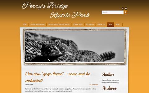 Screenshot of Blog perrysbridgereptilepark.com - Perry's Bridge          Reptile Park - Reptile Blog, for Perry's Bridge Reptile Park - captured Sept. 26, 2014