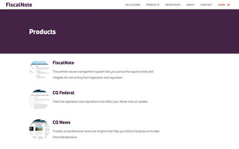 Screenshot of Products Page fiscalnote.com - Products Index | FiscalNote - captured March 20, 2019