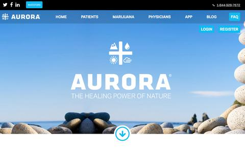 Screenshot of FAQ Page auroramj.com - FAQs About Aurora & Medical Marijuana | Aurora Cannabis - captured May 6, 2017