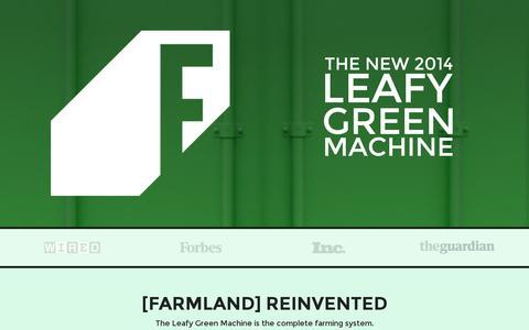 Screenshot of Home Page freightfarms.com - The Leafy Green Machine | Freight Farms | Freight FarmsFreight Farms - captured July 11, 2014