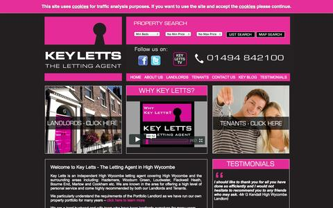 Screenshot of keyletts.com - Letting agents in High Wycombe offering a high level of service to Landlords and Tenants   Key Letts - captured Oct. 11, 2014