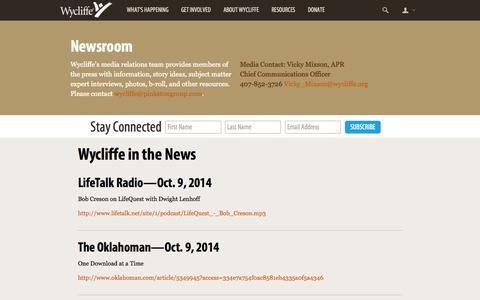 Screenshot of Press Page wycliffe.org - Newsroom -                 Wycliffe Bible Translators - captured Oct. 26, 2014