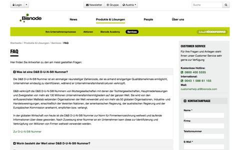 Screenshot of FAQ Page bisnode.at - FAQ - Bisnode.at - captured Oct. 5, 2014