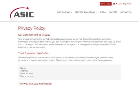 Screenshot of Privacy Page asicllc.com - Privacy Policy - Matthews, Charlotte, Indian Trail | ASIC - captured July 28, 2018