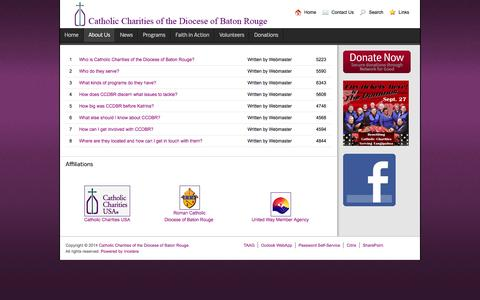 Screenshot of FAQ Page ccdiobr.org - Frequently Asked Questions - Catholic Charities of the Diocese of Baton Rouge - captured Oct. 2, 2014