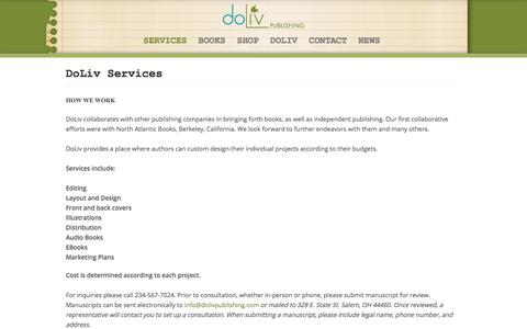 Screenshot of Services Page dolivpublishing.com - services - captured Aug. 7, 2018