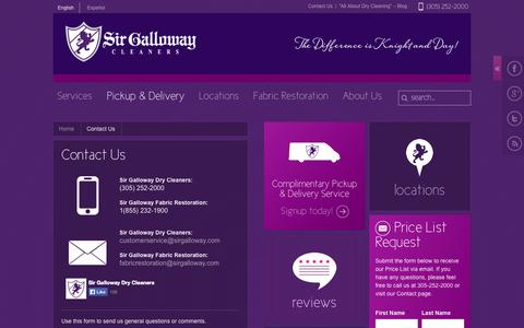 Screenshot of Contact Page sirgalloway.com - Sir Galloway Dry Cleaners | Best Miami Dry Cleaners  » Contact Us - captured Oct. 4, 2014