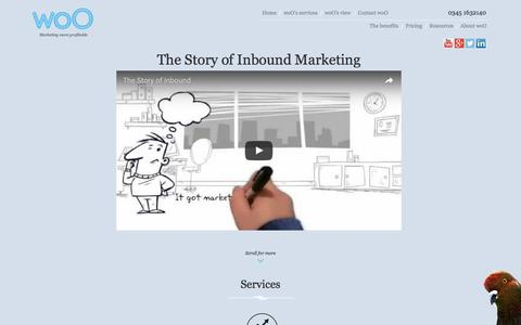 Screenshot of Home Page woo-marketing.com - woO Inbound Marketing Agency in London - woO - captured Nov. 30, 2016