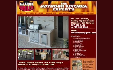 Screenshot of Home Page allaboutgrills.com - Outdoor Kitchens   Service & Repair - captured Feb. 5, 2016