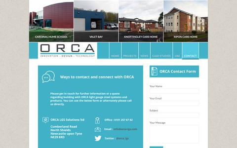 Screenshot of Contact Page orca-lgs.com - Contact | ORCA-LGS UK - captured Feb. 14, 2016
