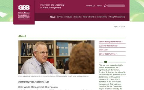 Screenshot of About Page gbbinc.com - GBB - Recycling / Solid Waste Management Consultant - captured Oct. 2, 2014