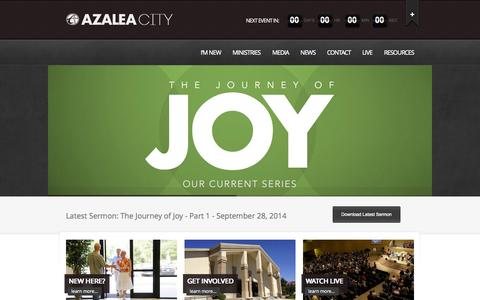 Screenshot of Home Page myazaleacity.com - Azalea City Church of God - Valdosta, GA - captured Oct. 4, 2014