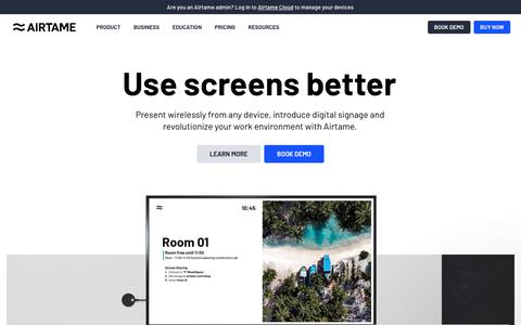 Screenshot of Home Page airtame.com - Wireless screen mirroring and digital signage with Airtame - captured Aug. 10, 2019