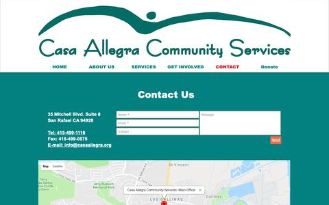 Screenshot of Contact Page casaallegra.org - Casa Allegra Community Services | CONTACT - captured Sept. 27, 2018