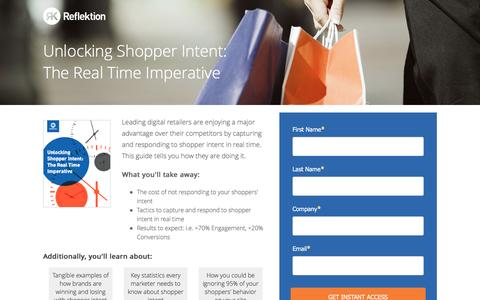 Screenshot of Landing Page reflektion.com - Reflektion | Unlocking Shopper Intent - captured Oct. 20, 2016