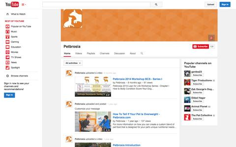Screenshot of YouTube Page youtube.com - Petbrosia  - YouTube - captured Oct. 22, 2014