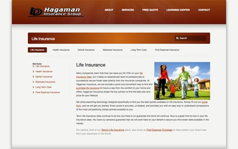 Screenshot of Services Page hagamaninsurancegroup.com - Life Insurance –  Life Insurance | Dental Insurance | Health Insurance - captured Sept. 27, 2014