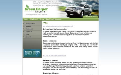 Screenshot of FAQ Page greencarpetlimo.com - Eco Friendly Chauffeured Car Service in SF Bay Area - Green Carpet Limousine - captured Sept. 30, 2018
