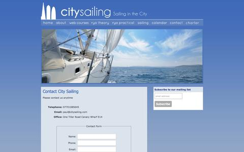 Screenshot of Contact Page citysailing.com - Contact City Sailing | London based Sailing Courses - captured Dec. 9, 2015