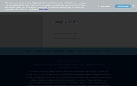 Screenshot of Privacy Page harbourvest.com - Privacy Policy | HarbourVest - captured Sept. 27, 2018