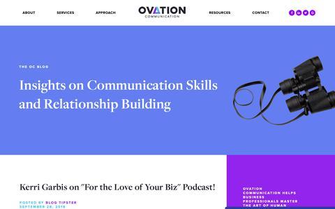 Screenshot of Blog ovationcomm.com - Insights on Communication Skills and Relationship Building - captured Oct. 18, 2018