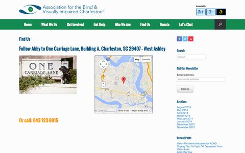 Screenshot of Contact Page abvisc.org - Find Us | Association for the Blind and Visually Impaired - Charleston - captured Oct. 4, 2014
