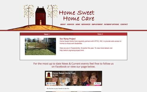 Screenshot of Press Page hshcin.com - News - Home Sweet Home Care - captured Sept. 29, 2018
