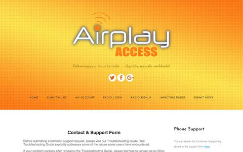 Screenshot of Contact Page airplayaccess.com - Contact Us - Airplay Access - captured July 29, 2018
