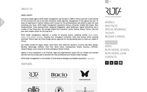 Screenshot of About Page rutamodel.com - Model agency Vilnius, Lithuania, RUTA model management » About us - captured Oct. 7, 2014