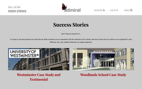 Screenshot of Case Studies Page admiral-cleaning-supplies.com - Success Stories - captured Oct. 3, 2018
