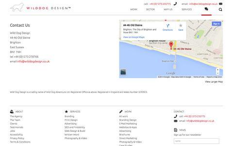 Screenshot of Contact Page wilddogdesign.co.uk - Contact - Wild Dog Design - captured Oct. 6, 2014