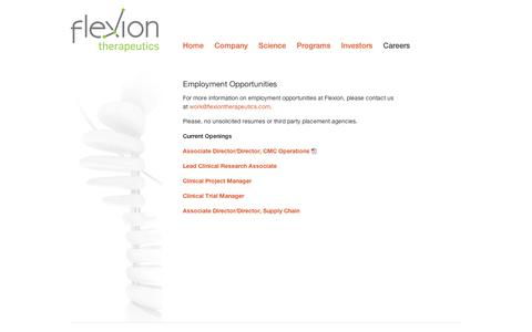 Screenshot of Jobs Page flexiontherapeutics.com - Careers | Flexion Therapeutics - captured Sept. 11, 2014