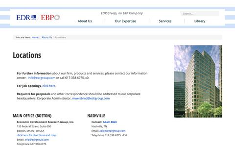 Screenshot of Contact Page Locations Page edrgroup.com - Location | About Us - captured Jan. 11, 2019
